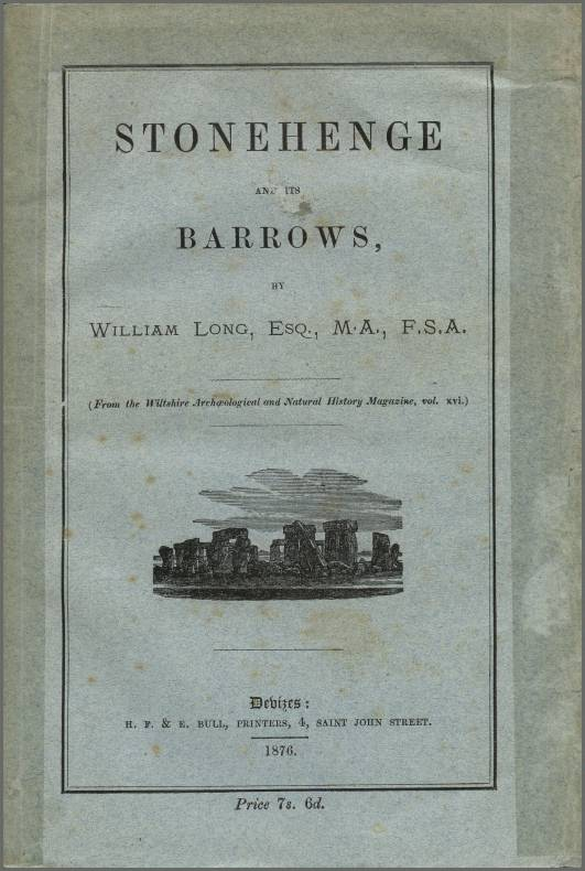 Stonehenge and its Barrows, W. Long, Front Cover